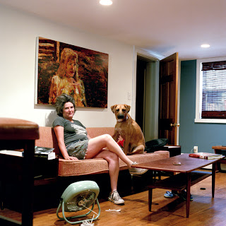 Angela Dufresne with Larry the dog, Brooklyn